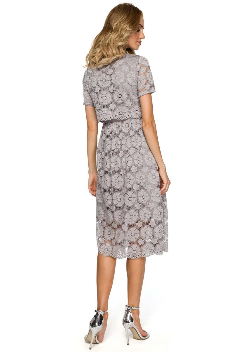 1070b6a622 Szara Koronkowa Rozkloszowana Midi Sukienka z Krótkim Rękawem - Molly.pl