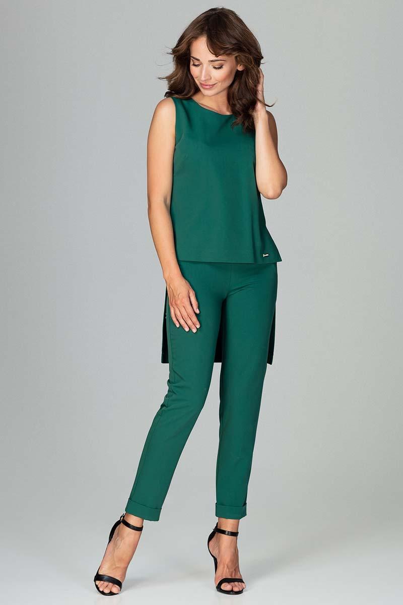 f499b4a966276 Zielony Komplet Bluzka +Spodnie z Wywijaną Nogawką - Molly.pl