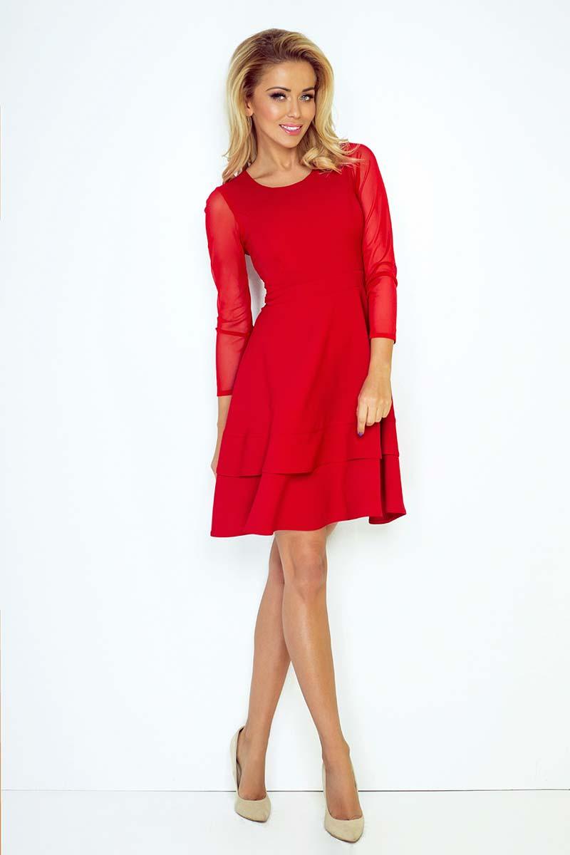 0fe3add030 ... Czerwona Sukienka Wizytowa Rozkloszowana z Transparentnymi Rękawami ...