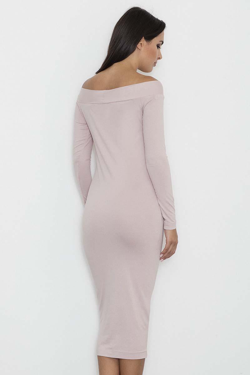 7d879715d5 Różowa Ołówkowa Sukienka za Kolano z Szerokim Dekoltem - Molly.pl