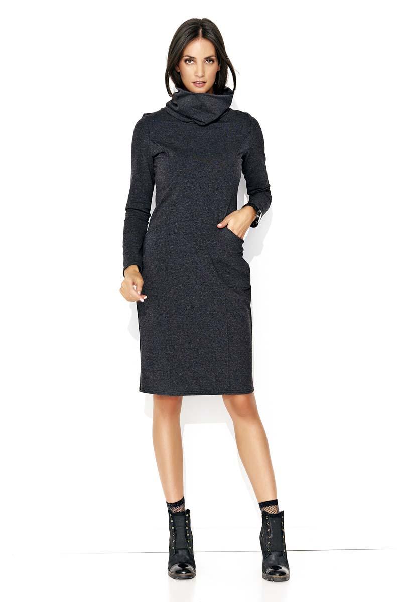 e36cf77c20 Grafitowa Dresowa Midi Sukienka z Golfem - Molly.pl