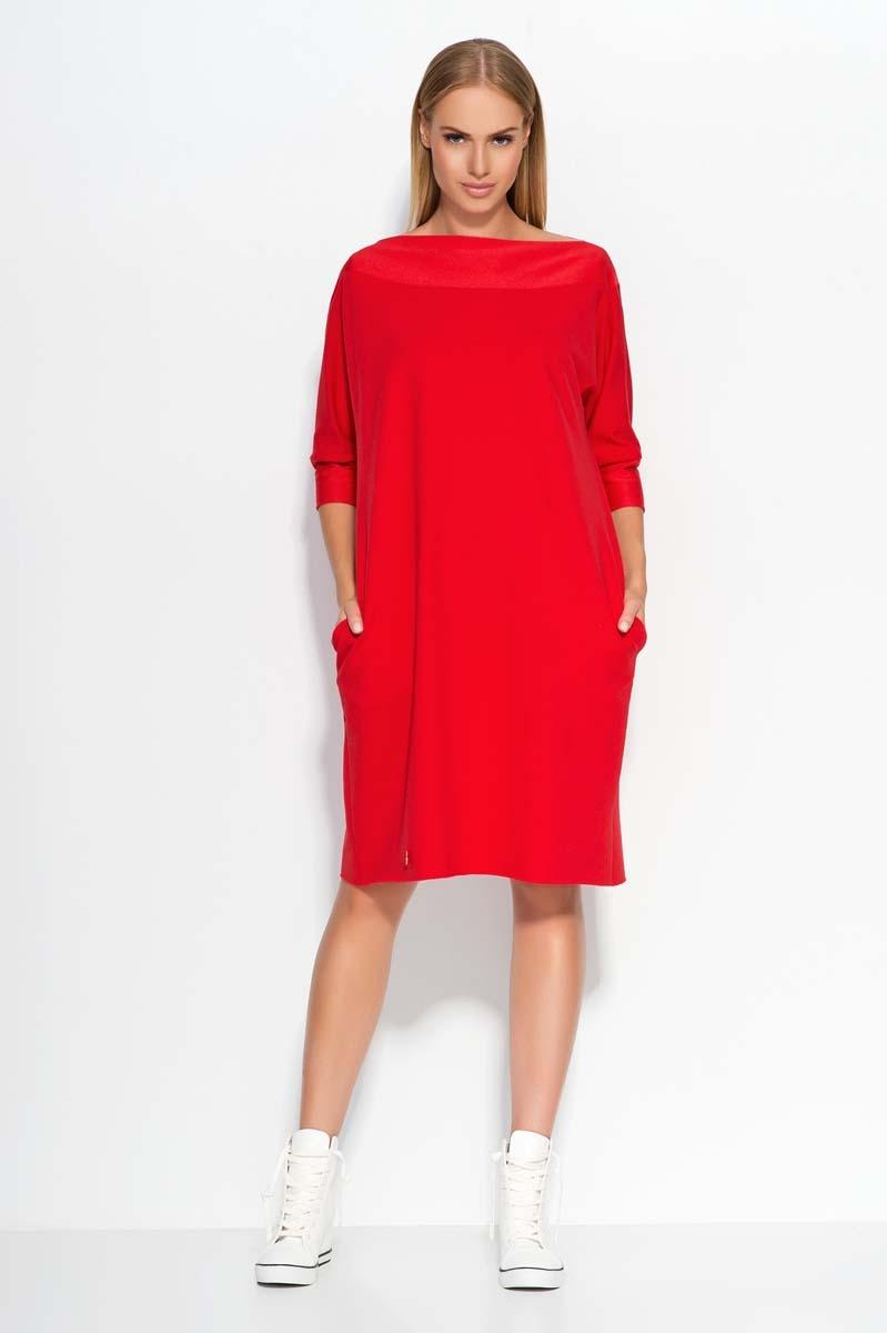 Czerwona Sukienka Oversizowa Midi z Rękawem 34 Molly.pl