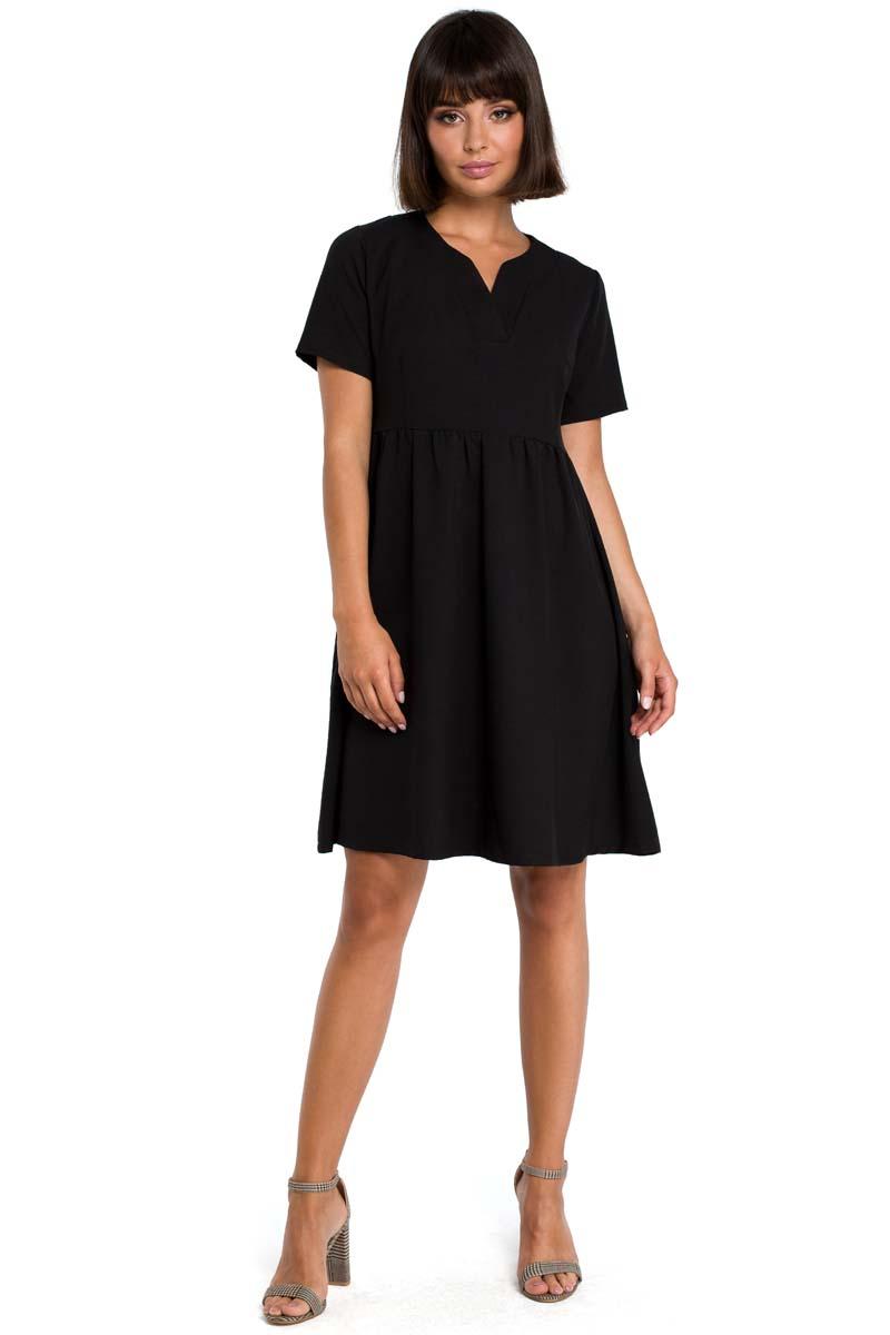 8ab01fe132 Czarna Rozkloszowana Sukienka Mini Odcinana pod Biustem - Molly.pl