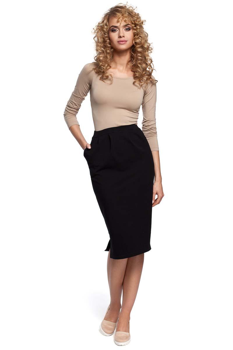 Czarna spódnica mdi z wysokim stanem i rozcięciem z boku