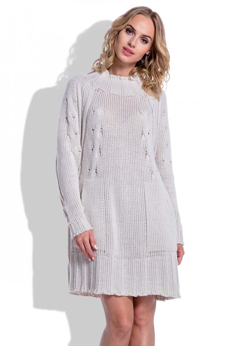 03ee2fa575 Swetrowa Beżowa Sukienka Oversize z Kieszeniami - Molly.pl
