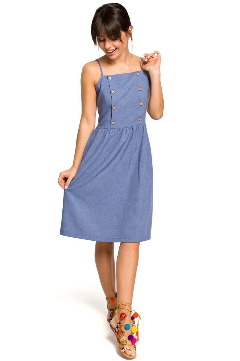 a7bbb568 Niebieska Sukienka na Ramiączkach Ozdobiona Guzikami - Molly.pl