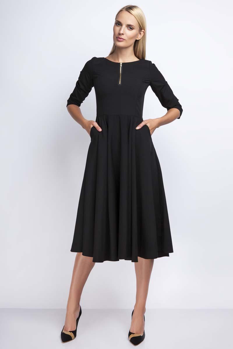 056ddd99ba Czarna Rozkloszowana Sukienka za Kolano z Kontrastowym Zamkiem ...