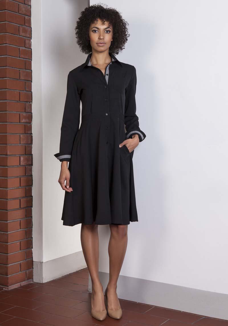 d282c45c80 Czarna Sukienka Szmizjerka z Długim Rękawem - Molly.pl