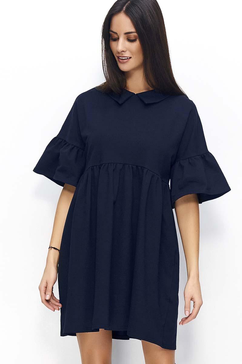 20e549085e Granatowa Sukienka Trapezowa z Falbankami na Rękawach Granatowa Sukienka  Trapezowa z Falbankami na Rękawach ...