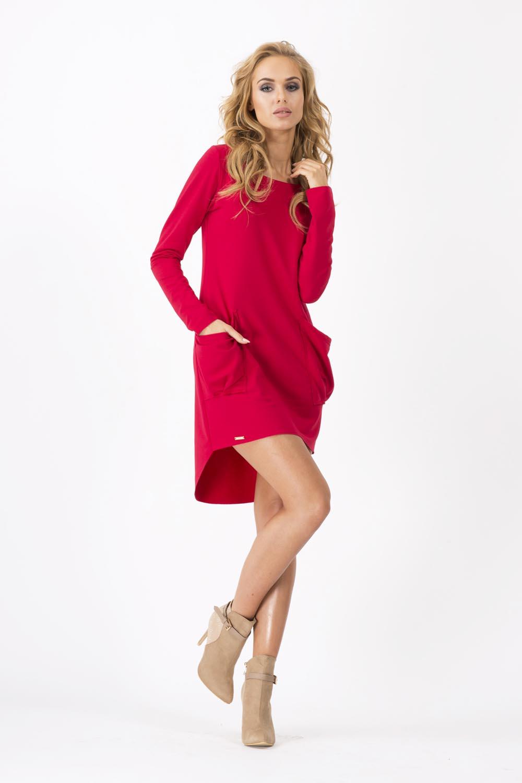 56f20ba483 Czerwona Dresowa Asymetryczna Sukienka z dużymi kieszeniami - Molly.pl