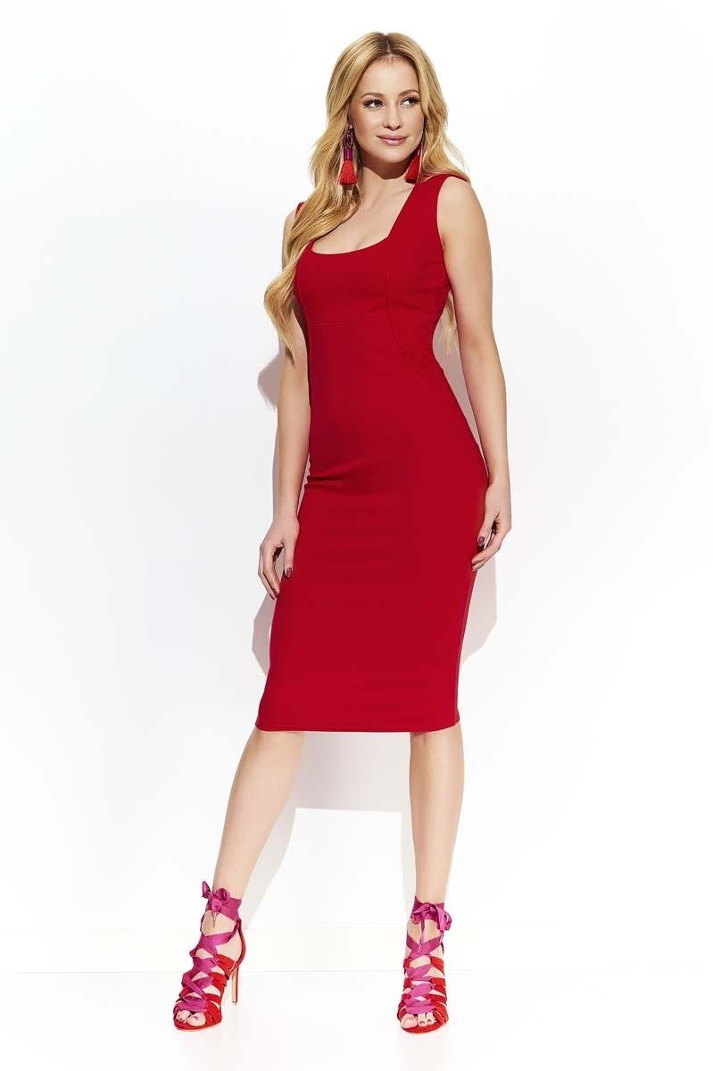 755db686c8 Czerwona Elegancka Ołówkowa Midi Sukienka z Przeszyciami - Molly.pl