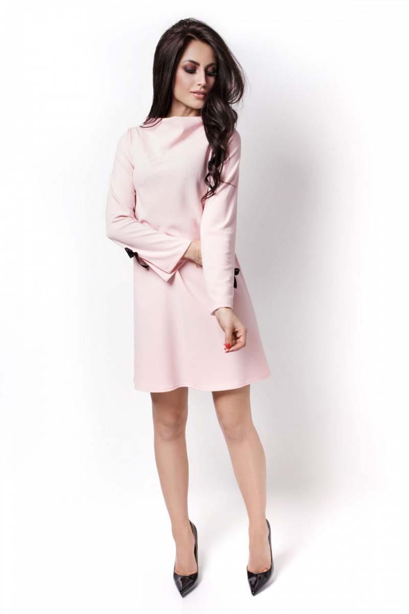 d652e07c01 Różowa Sukienka Wizytowa z Kokardkami na Rękawach - Molly.pl