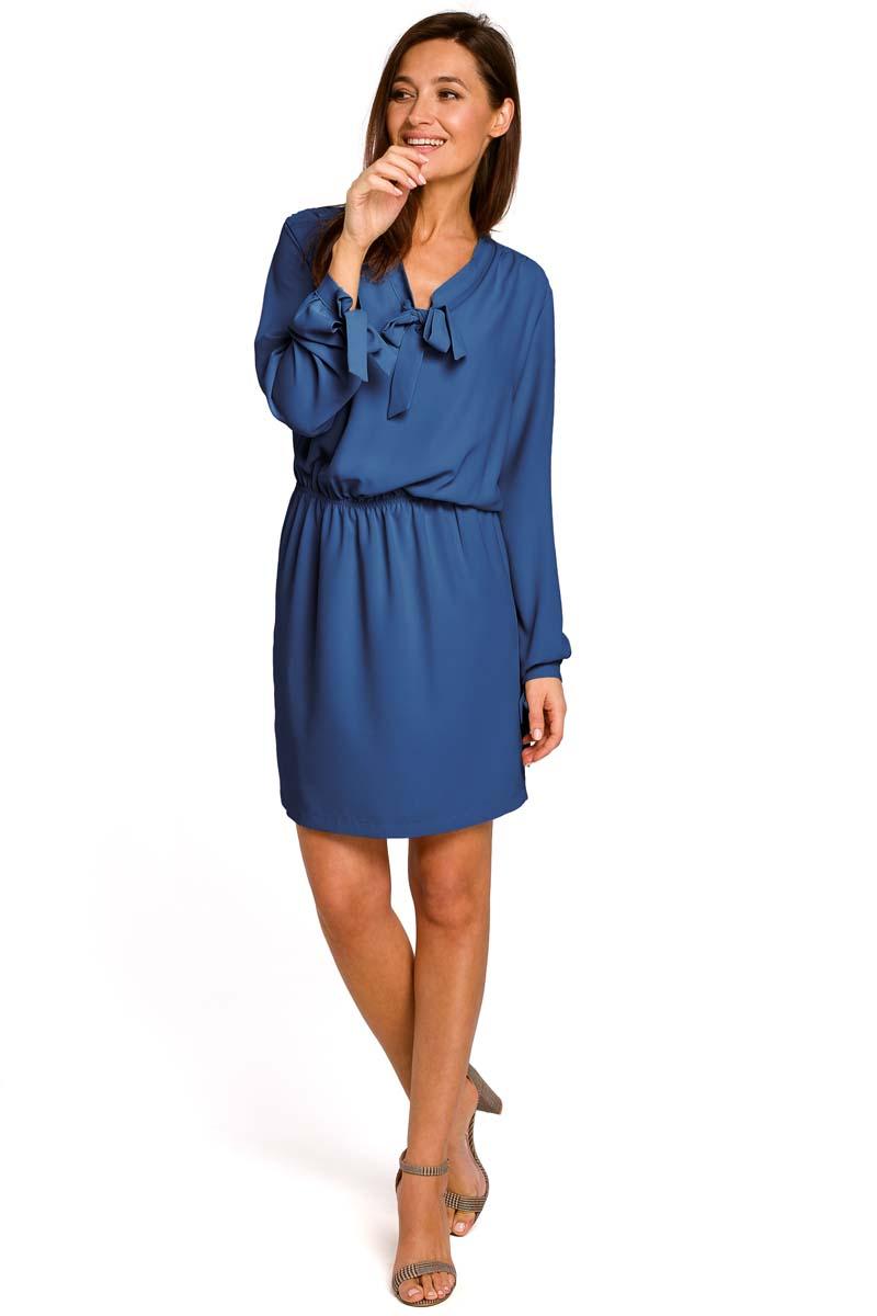 9c84c98bf5 Niebieska Kobieca Krótka Sukienka z Wiązaniem - Molly.pl