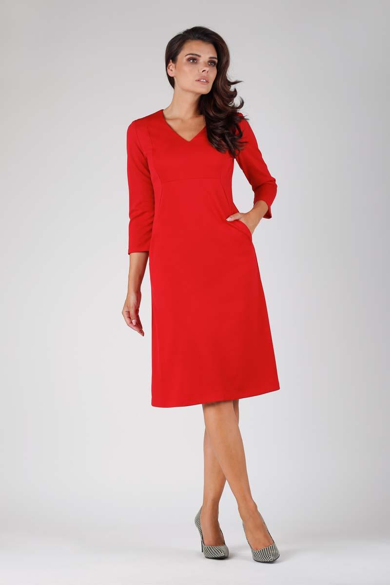ca566e70ca Czerwona Trapezowa Wizytowa Sukienka Midi z Kieszeniami - Molly.pl