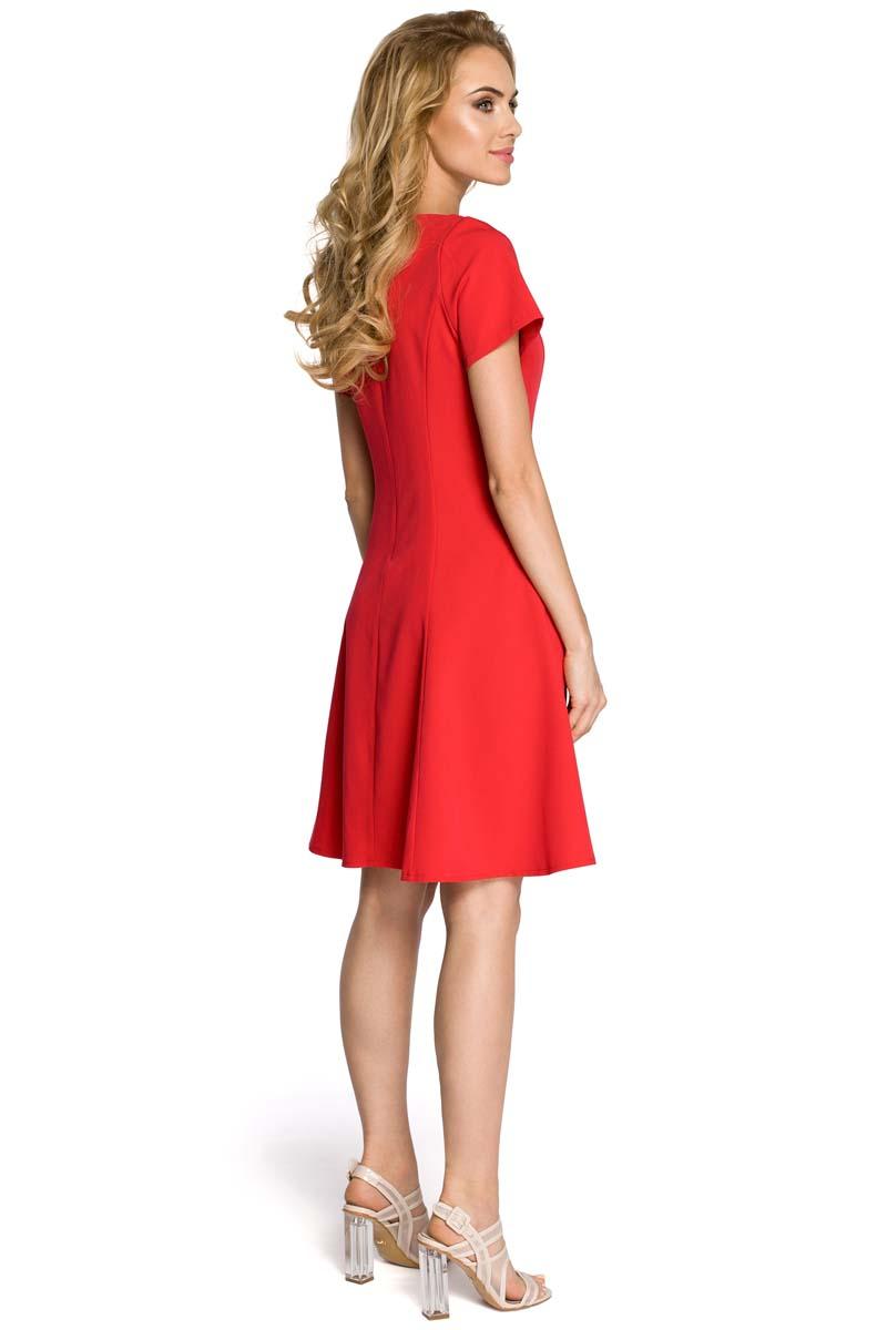c06ccd467f Rozkloszowana Czerwona Sukienka z Cięciami Modelującymi Rozkloszowana  Czerwona Sukienka z Cięciami Modelującymi