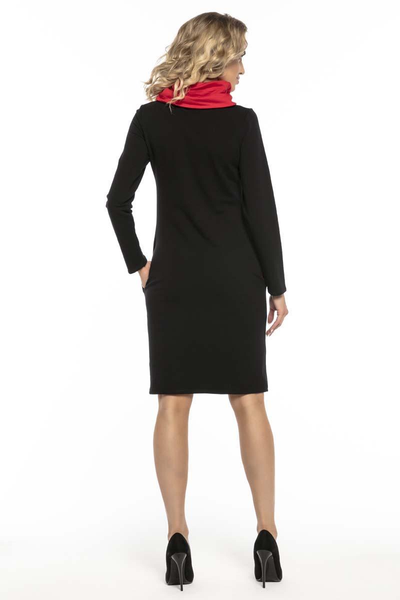 a18a47dd51 Czarno Czerwona Wygodna Sportowa Sukienka z Kominem Czarno Czerwona Wygodna  Sportowa Sukienka z Kominem ...