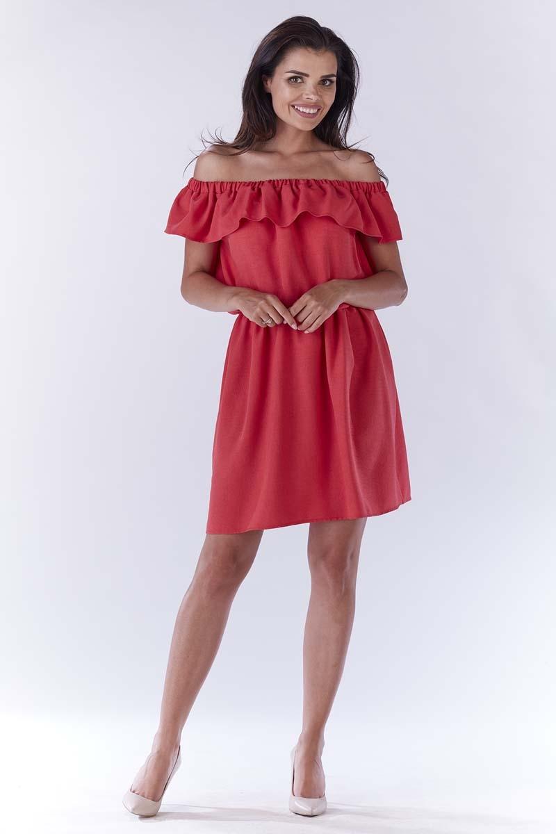 6c5fa6095c Różowa Sukienka ze Zmysłowym Dekoltem Carmen - Molly.pl