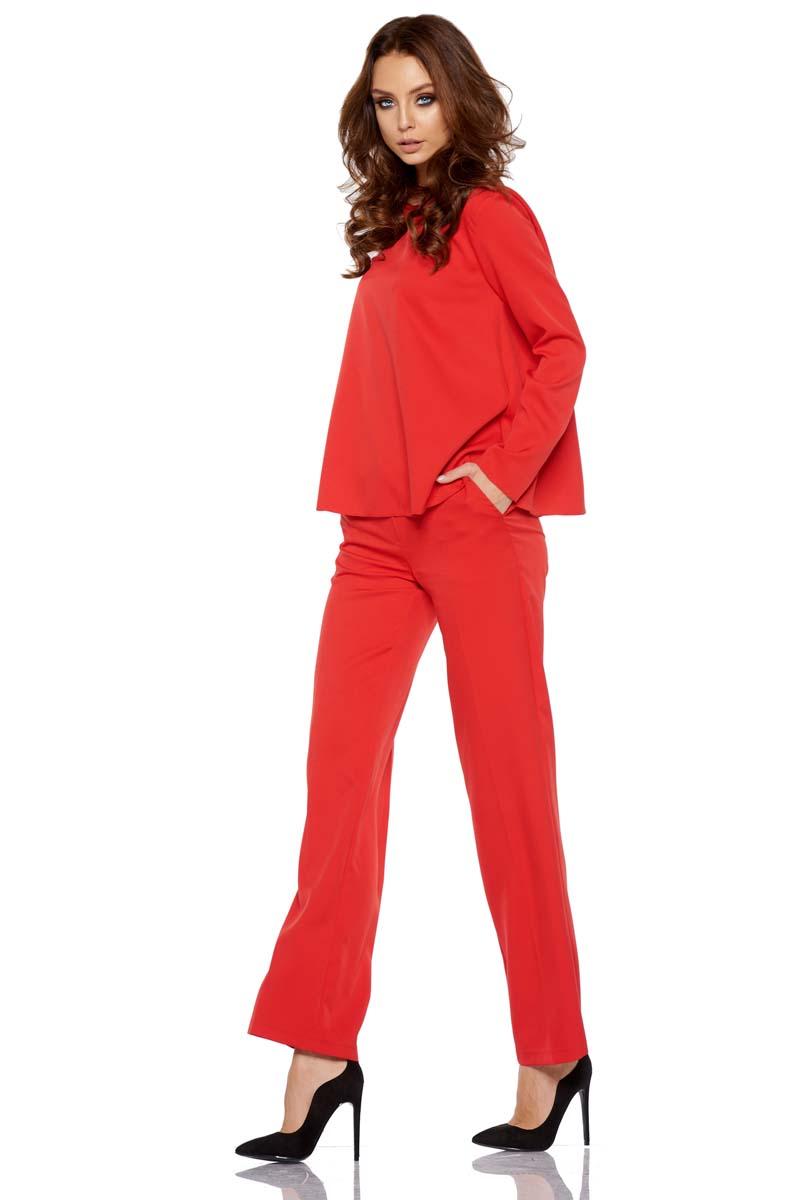 280dd930 Czerwony Elegancki Komplet Bluzka + Szerokie Spodnie w Kant - Molly.pl