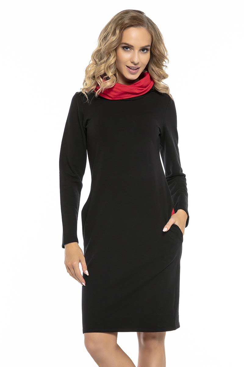 4092398a7f Czarno Czerwona Wygodna Sportowa Sukienka z Kominem - Molly.pl