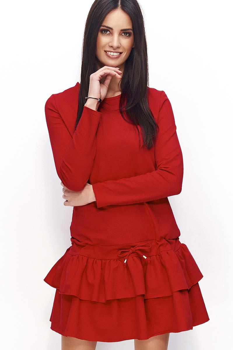 0076121fdf Czerwona Sukienka Dresowa z Falbanką i Wiązanymi Troczkami - Molly.pl