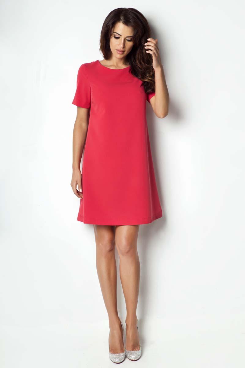 b5c47e7740 Czerwona Sukienka Trapezowa z Krótkim Rękawem - Molly.pl