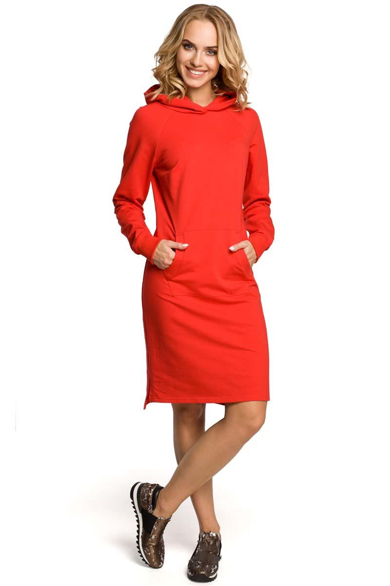 8857cb5f1c Czerwona Sukienka Sportowa Kangurka z Kapturem - Molly.pl