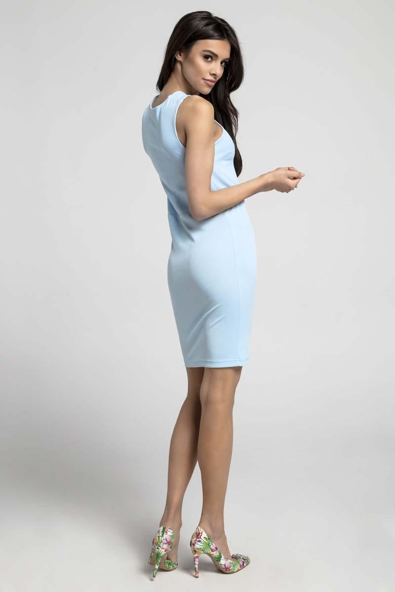 8ea62ada65 Błękitna Sukienka Bodycon z Przekładanym Dekoltem Błękitna Sukienka Bodycon  z Przekładanym Dekoltem