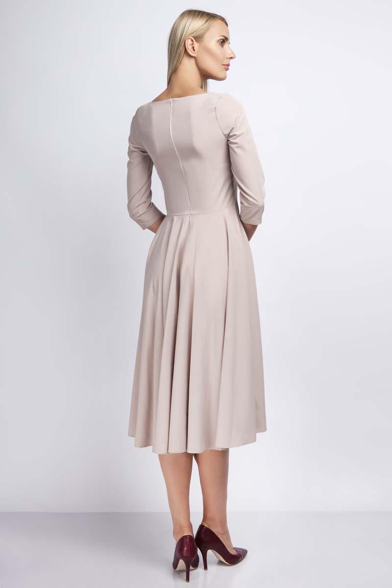 0d84f68430 Beżowa Rozkloszowana Sukienka za Kolano z Kontrastowym Zamkiem ...