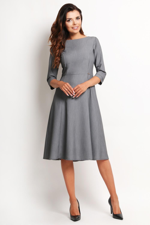 Szara Elegancka Rozkloszowana Sukienka Midi z Rękawem 34