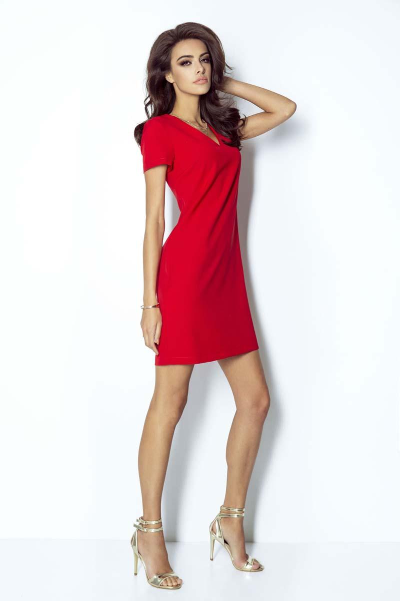 e09064cce5 Czerwona Sukienka Trapezowa Mini z Dekoltem V - Molly.pl