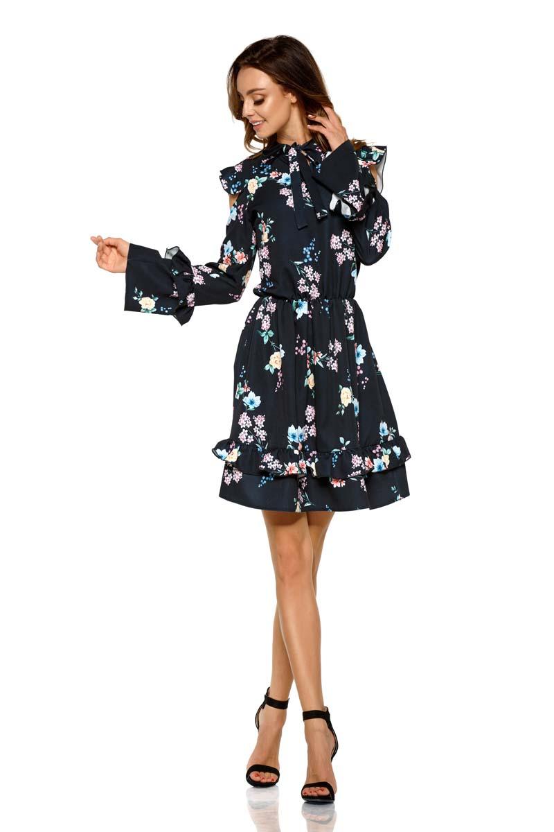 76a54dc5cb Wzorzysta Sukienka w Kwiaty z Falbankami Typu Cold Shoulder - Molly.pl