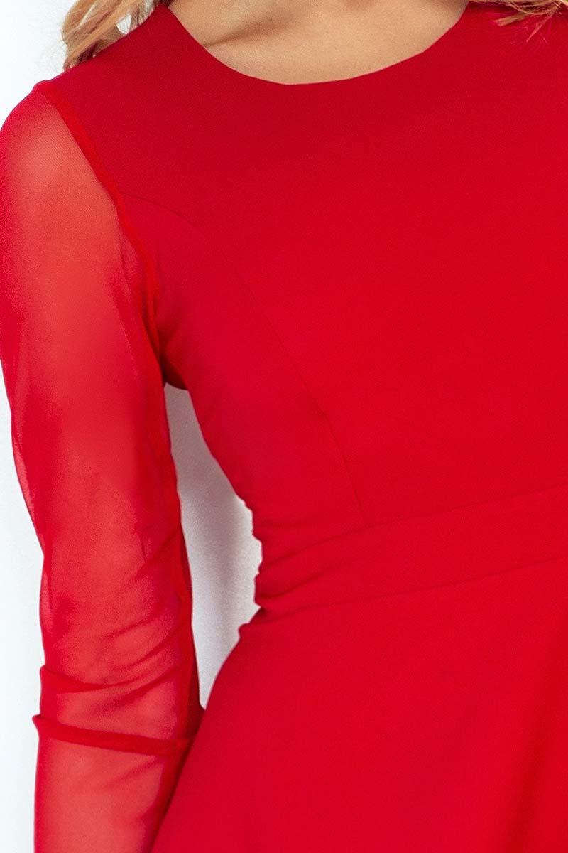 251d908cd2 Czerwona Sukienka Wizytowa Rozkloszowana z Transparentnymi Rękawami ...