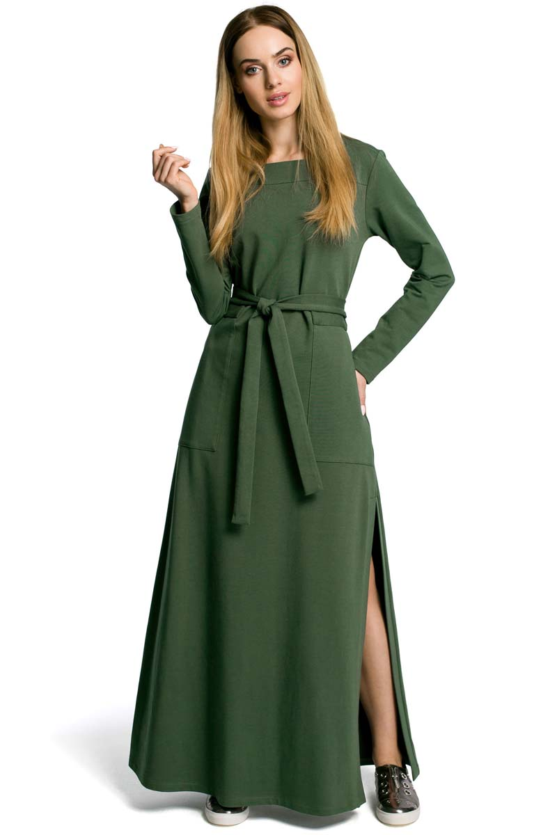 11a25229d4 Zielona Sukienka Dresowa Maxi z Dekoltem Caro z Rozcięciem - Molly.pl