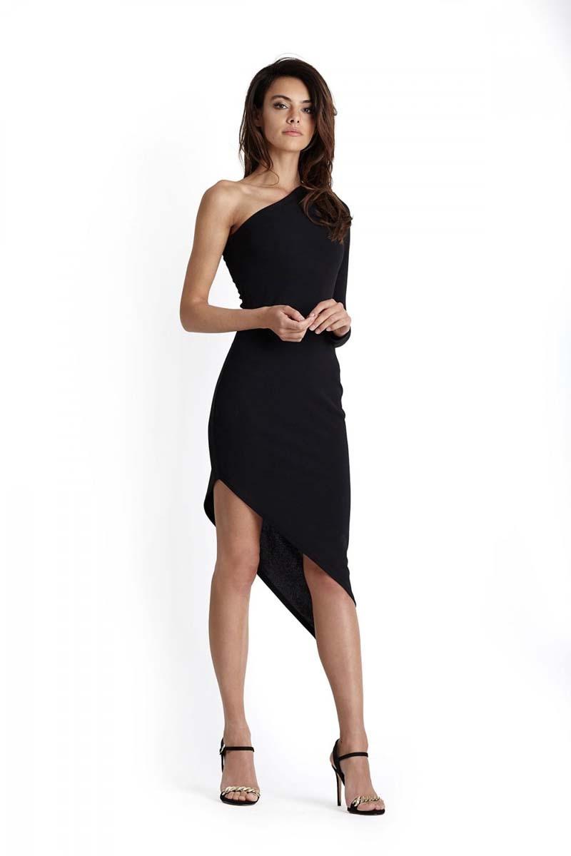 bcd622d976 Czarna Asymetryczna Sukienka Ołówkowa na Jedno Ramie - Molly.pl
