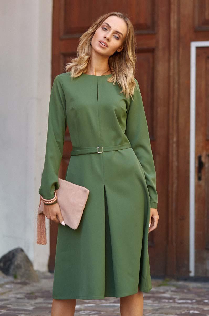 0097f6c65e Zielona Elegancka Sukienka do Pracy za Kolano z Paskiem - Molly.pl