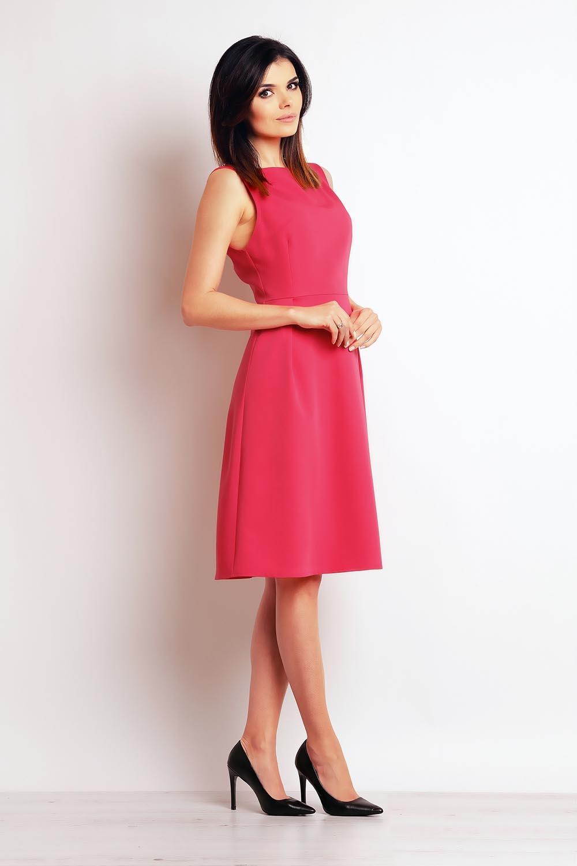 5138345929 Różowa Elegancka Midi Sukienka na Szerokich Ramiączkach Różowa Elegancka  Midi Sukienka na Szerokich Ramiączkach ...