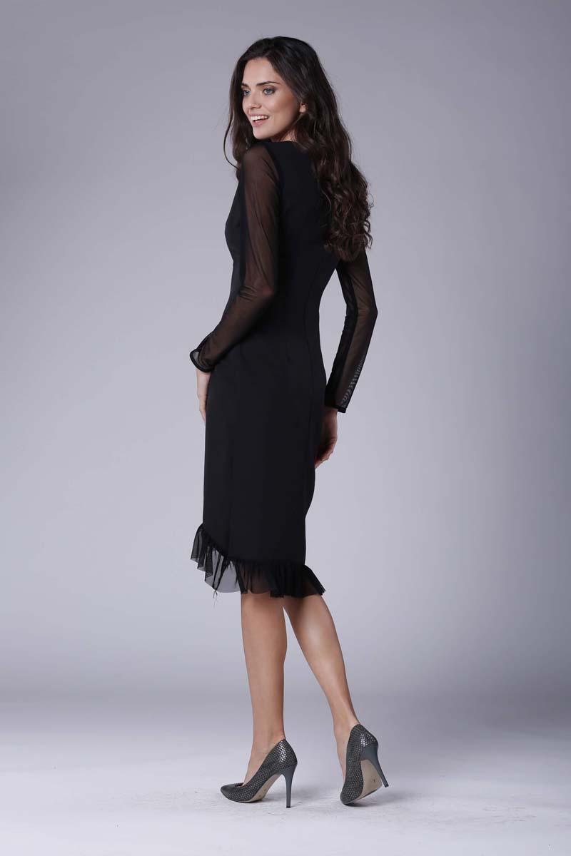 349f666ba6 Czarna Wizytowa Sukienka z Kopertowym Dołem z Hiszpańską Falbanką ...