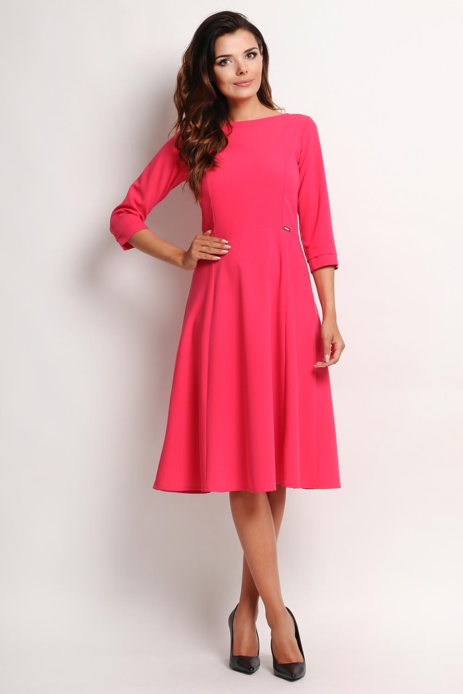 b51bb192d1 Różowa Elegancka Rozkloszowana Sukienka Midi z Rękawem 3 4 - Molly.pl