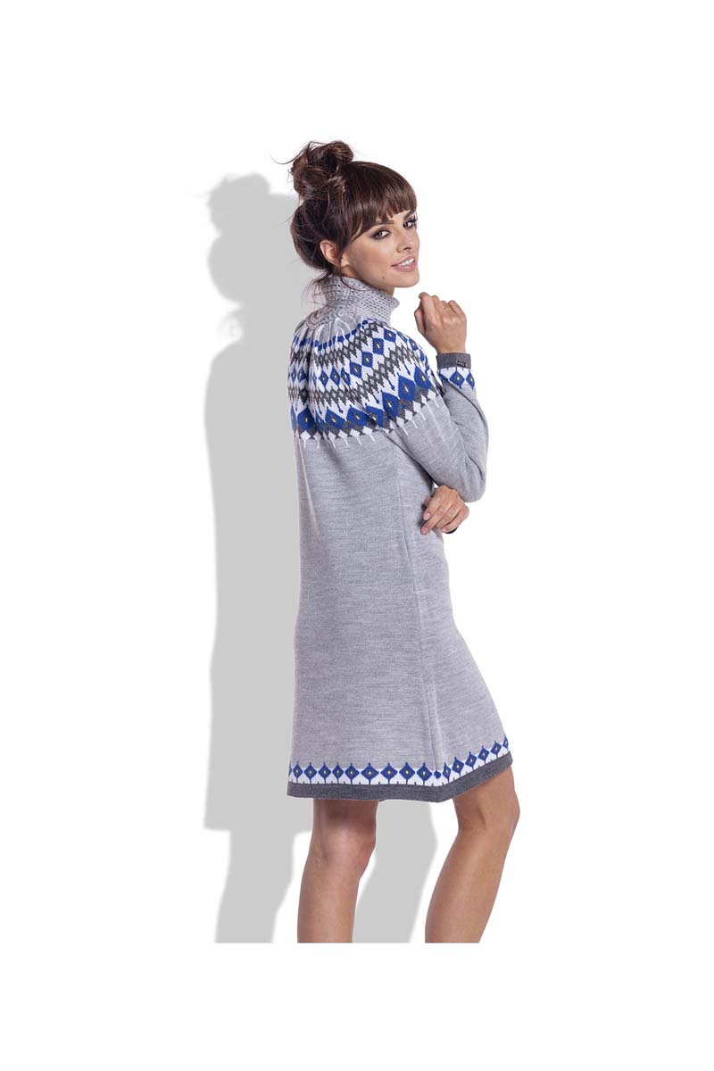 64ccc20802 Szara Ciepła Sukienka z Golfem w Norweskie Wzory - Molly.pl