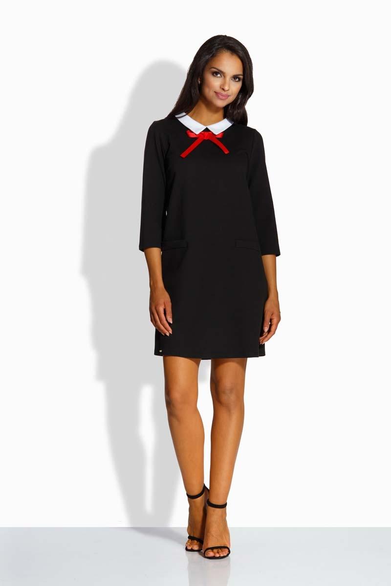97edec3643 Czarna Kobieca Sukienka z Białym Kołnierzykiem - Molly.pl