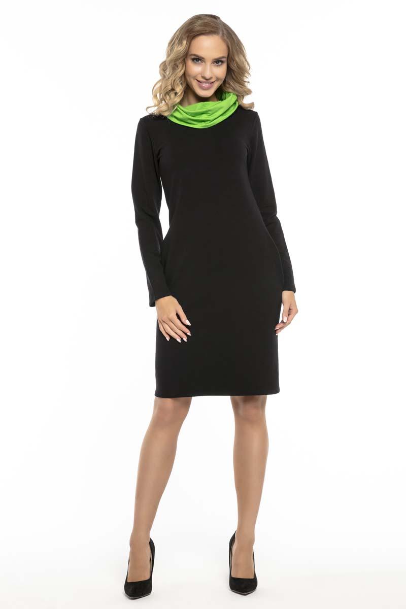 395903d25d Czarno Zielona Wygodna Sportowa Sukienka z Kominem - Molly.pl
