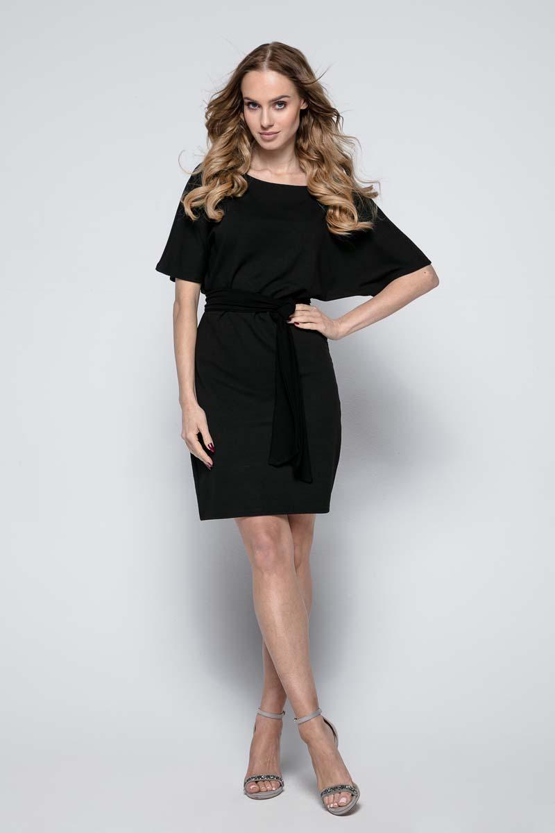 88514be858 Czarna Wyjściowa Dopasowana Mini Sukienka z Kimonowym Rękawem - Molly.pl