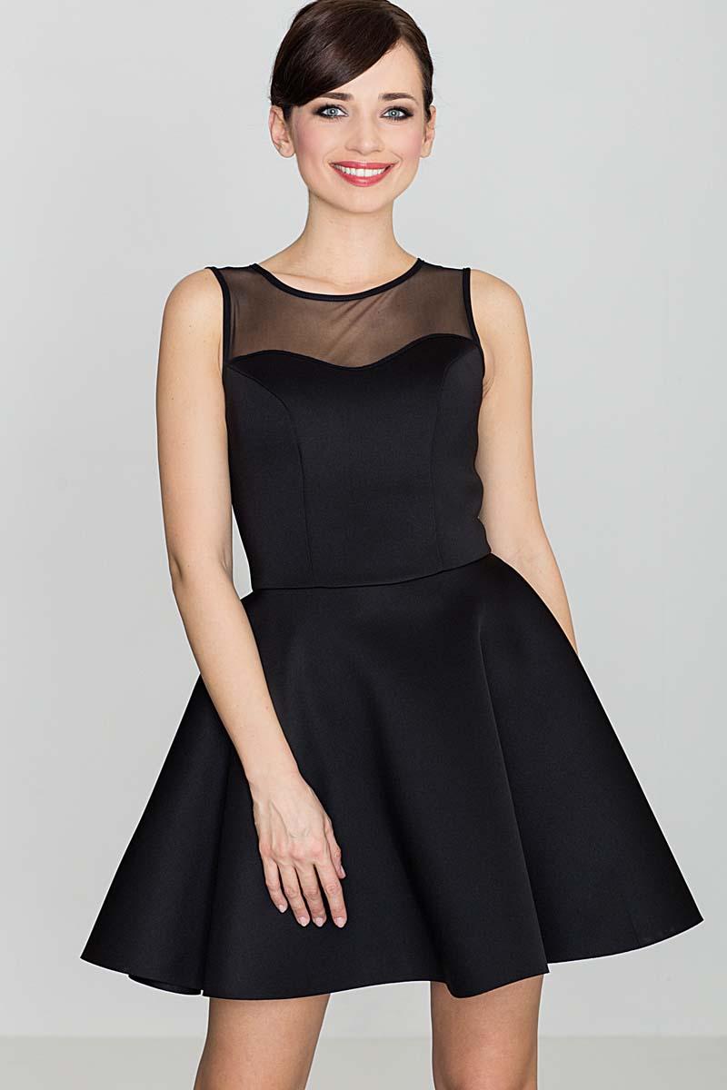 8969fca4b1 Czarna Wyjściowa Rozkloszowana Sukienka bez Rękawów z Prześwitującym  Karczkiem ...