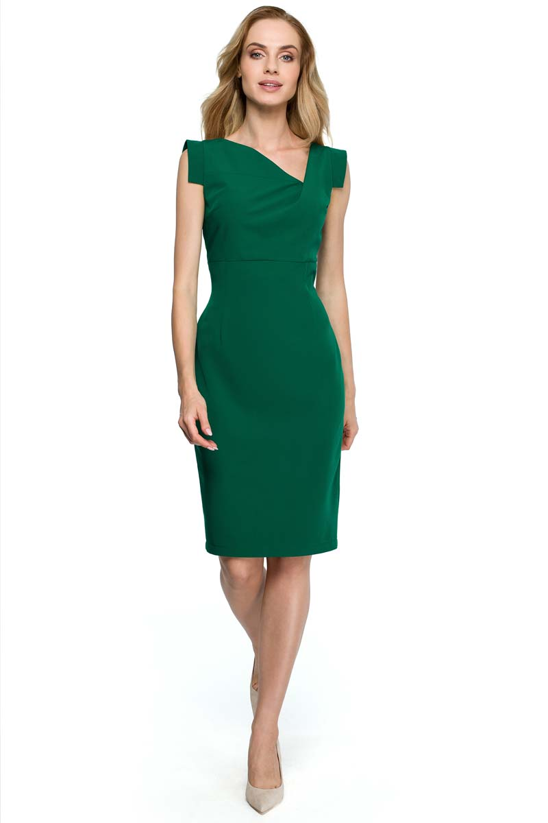 d525e1173c Zielona Dopasowana Sukienka z Asymetrycznym Dekoltem - Molly.pl