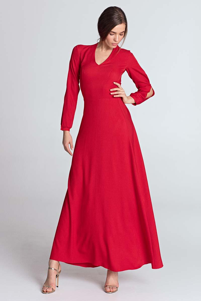 b4f0854dea Elegancka Czerwona Maxi Sukienka z Pęknięciem na Rękawach - Molly.pl