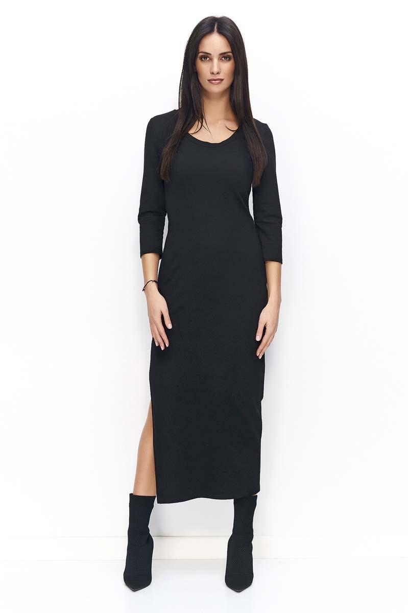 6df1f61c8b Czarna Sukienka Dresowa Maxi z Rozcięciem - Molly.pl