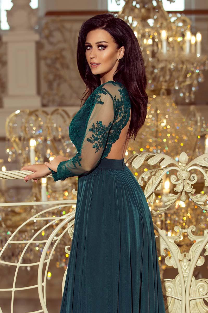 d8798c81f5 Zielona Wieczorowa Sukienka Maxi z Koronkową Górą - Molly.pl