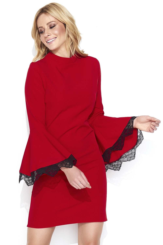 7e6b2a48b Czerwona Mini Sukienka z Hiszpańskim Rękawem z Koronką - Molly.pl