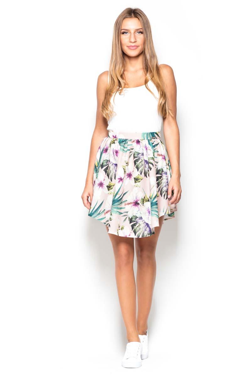 Spódnica rozkloszowana asymetryczna z nadrukiem kwiaty na białym tle