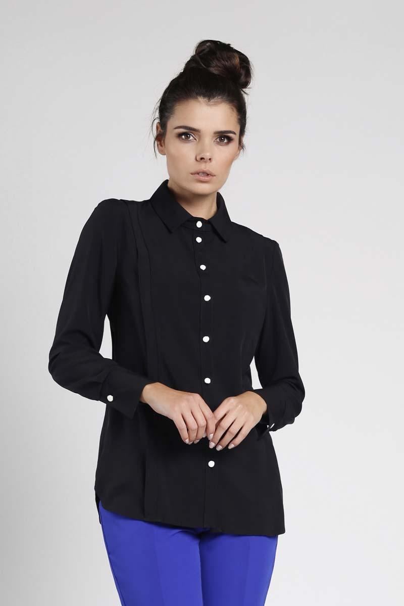Koszula Damska Z Ozdobnymi Kieszeniami Czarna